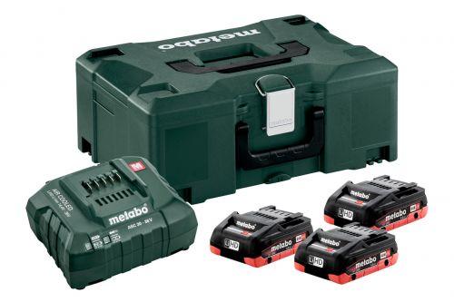 Bộ 3 Pin Lion 18V /4 Ah Bộ Sạc & Hộp đựng, METABO BASIC-SET 3 x LIHD 4.0 AH + METALOC